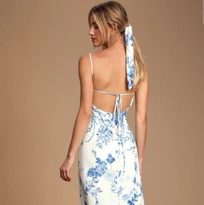 Lulu Crista blue and white button-front maxi dress